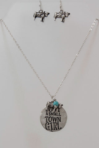 Just A Small Town Girl Pendant Charm Necklace