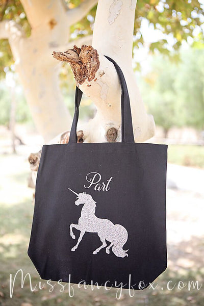 Unicorn Tote Bag Sparkle Silver