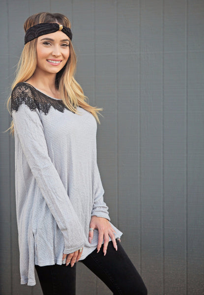 Gray Black Lace Shoulder Long Sleeve