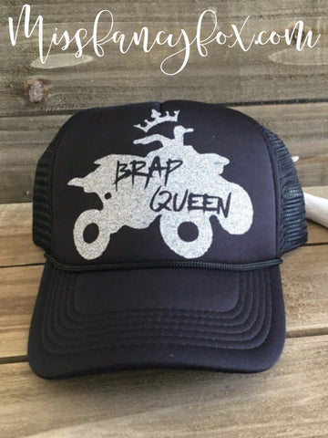brap queen quad motorcycle trucker hat black