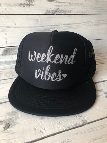 Weekend Vibes Black Trucker Hat