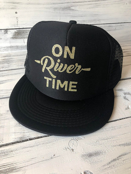 On River Time Black Trucker Hat