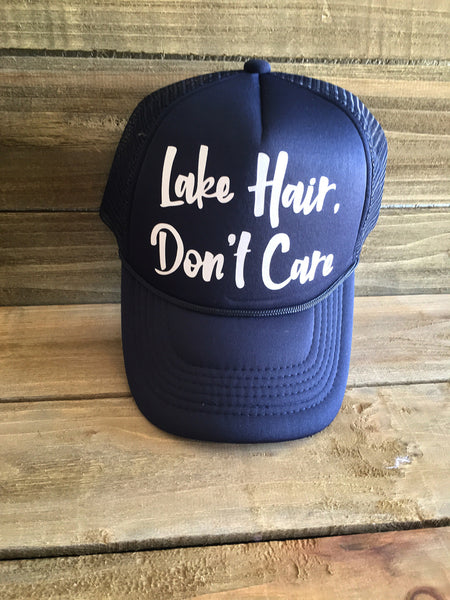 Lake Hair Don't Care Trucker Hat - Navy