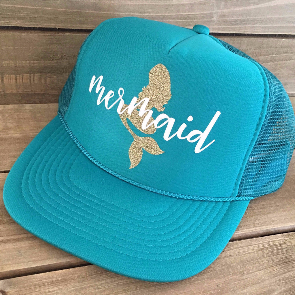 Sparkle Mermaid Trucker Hat- Aquamarine