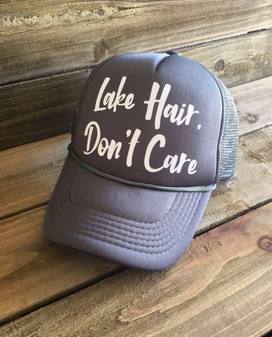 Lake Hair, Don't Care Trucker Hat - Gray