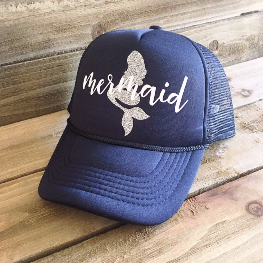 Mermaid Trucker Hat- Navy