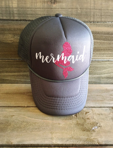 Mermaid Trucker Hat - Gray