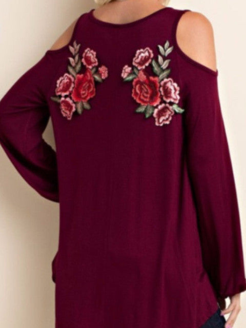 burgundy rose embroidered blouse top