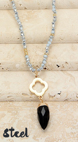 Steel Beaded Stone Crystal Necklace