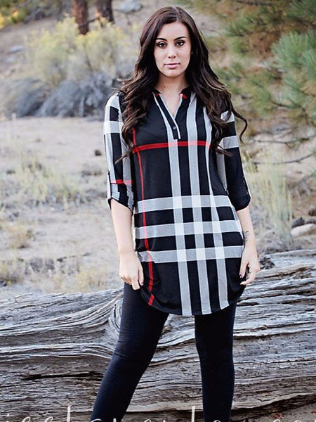 long plaid black white blouse top