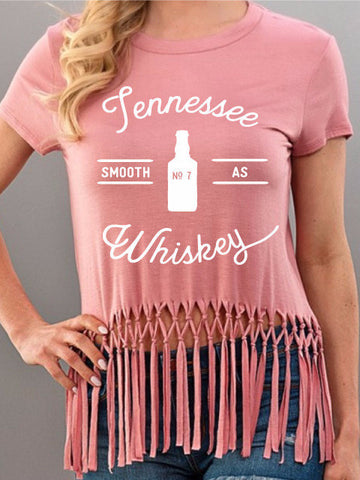 Smooth As Tennessee Whiskey Pink Fringe Tee