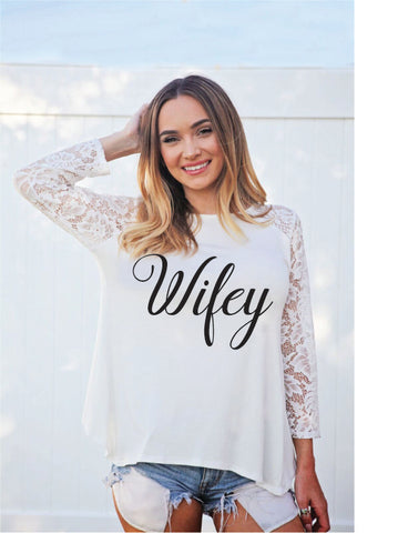 Lace Sleeve Wifey Blouse *Limited Stock*