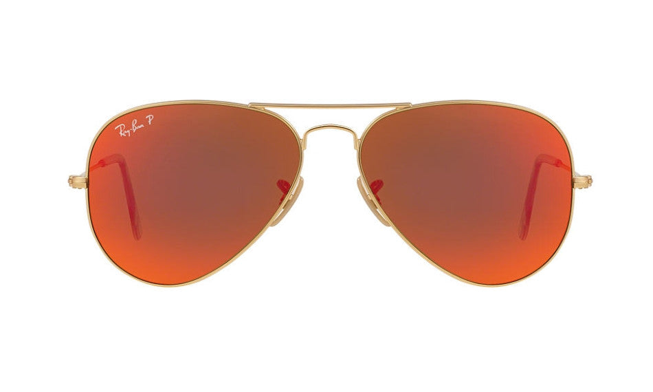 RAYBAN RB3025 112/4D Aviator Matte Gold Mirror Orange Polarized
