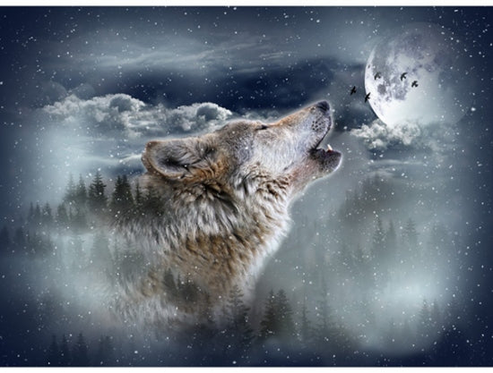 Hoffman Fabrics Call of the Wild Howling Wolf Cotton Fabric Panel S4720-524-Moonstruck