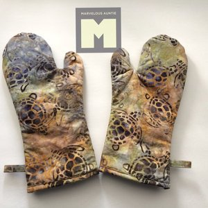 Oven Mitts using Turtle batik fabric