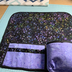 Sewing caddy using Hoffman Fabrics Forget Me Not Batiks