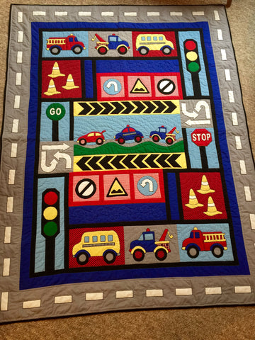 Kids Quilts Traffic Jam for a 2 year old grandson.