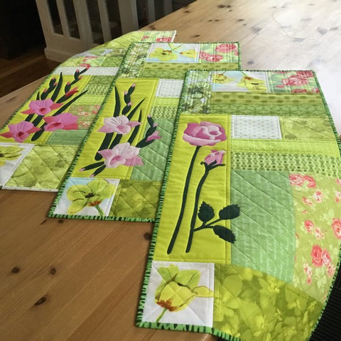 Mari Nordvik in Norway Spring Table Runners in Pink and Green