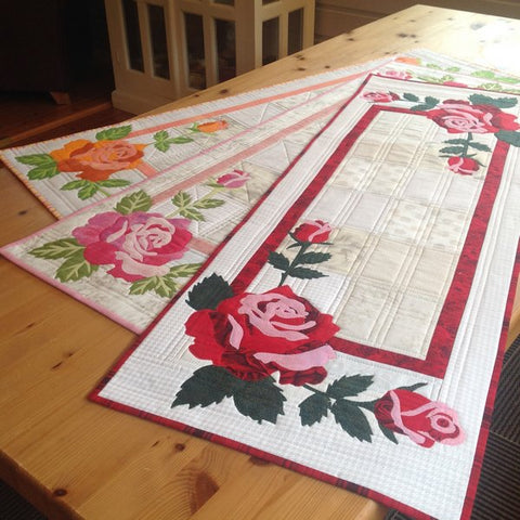 Mari Nordvik in Norway Wildfire Designs Alaska Evas Roses Flower Table Runner Quilt