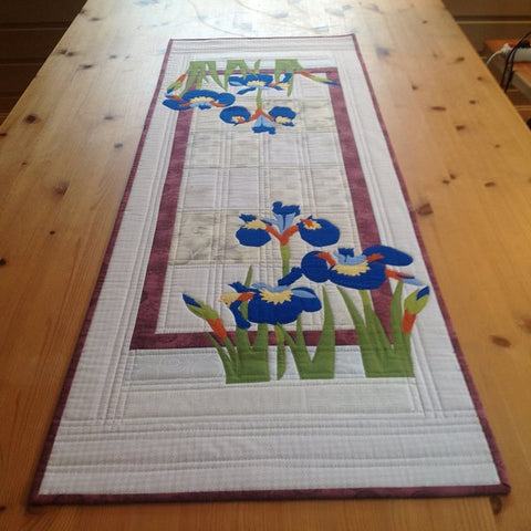Mari Nordvik in Norway Wildfire Designs Alaska Wild Iris Applique Table Runner Quilt