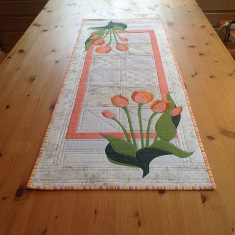 Mari Nordvik in Norway Zebra Patterns Tulip Flower Applique Table Runner Quilt
