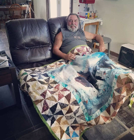 Finished Call of the Wild Bison lap quilt, Dad is happy!