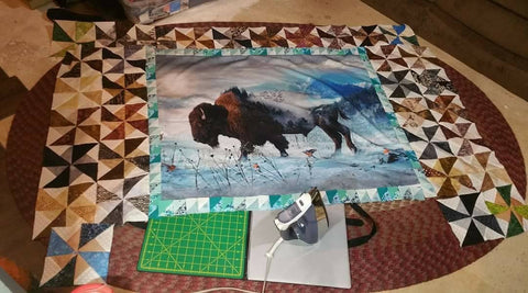 Call of the Wild Bison Lap Quilt in the works