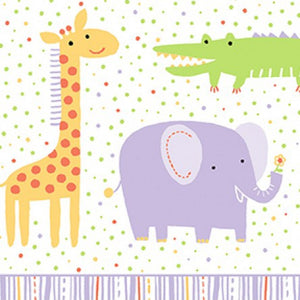 Clothworks Light Purple Animal Safari Sweet Organic Cotton Fabric