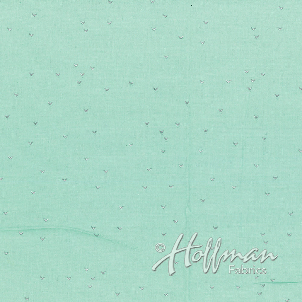 Hoffman Fabrics Me+You Metallic Spearmint Silver Bali Batik Fabric 148-445S-Spearmint-Silver