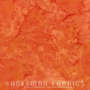 Hoffman Fabrics Watercolors Yam Orange 1895-570-Yam Bali Batik Fabric