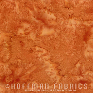 Hoffman Fabrics Watercolors Bourbon Orange Brown 1895-572-Bourbon Bali Batik Fabric
