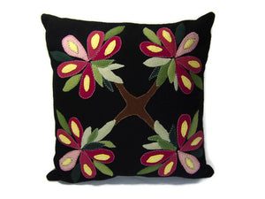 Pink Summer Bouquet Flower Felted Wool Throw Pillow Size 14 x 14