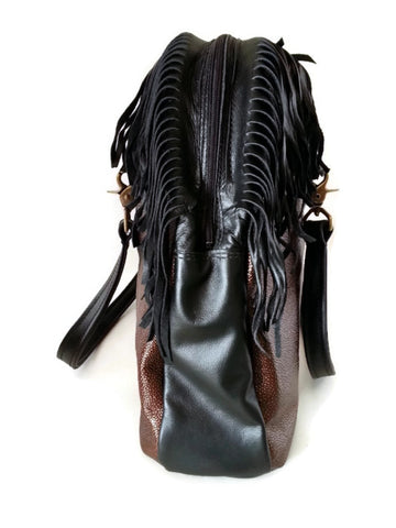 Fringed Metallic Copper Stingray Embossed Cowhide Leather Zip Top Tote Side View