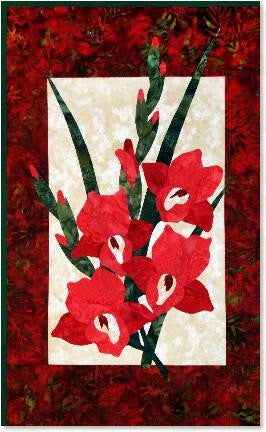 Zebra Patterns Red Gladiola Flower Applique Quilt Pattern - Beaverhead Treasures LLC