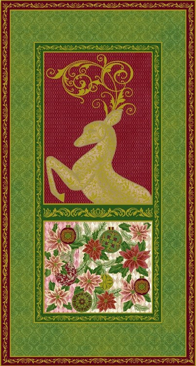 Paintbrush Studio Green Peace on Earth Large Christmas Fabric Panels with Metallic - Beaverhead Treasures LLC