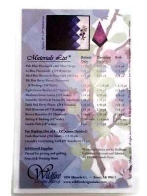 Wildfire Designs Alaska Berry Blues Laser Pre-Cut Pre-Fused Table Runner Applique Quilt Kit with Pattern - Beaverhead Treasures LLC