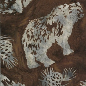 Hoffman Fabrics Cedar Brown Grizzly Bear Batik Fabric N2908-552-Cedar