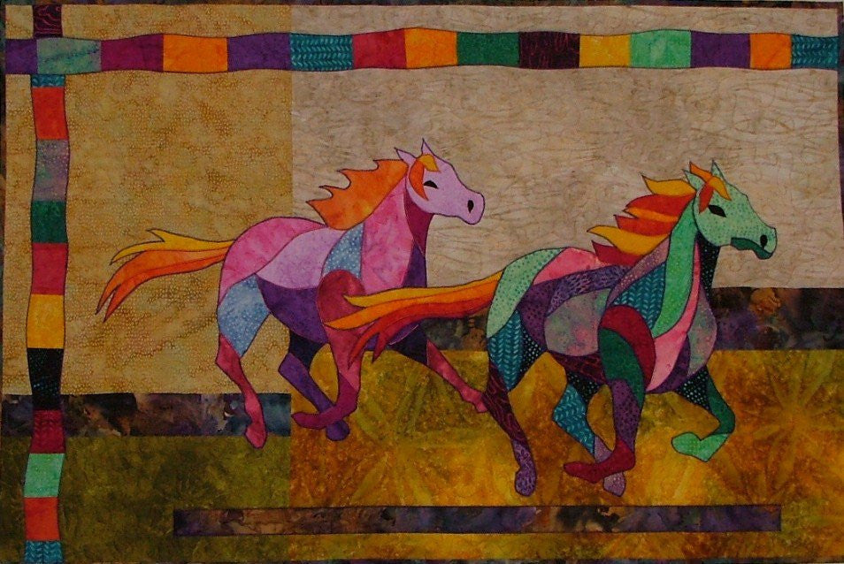 Bj designs patterns race with the wind horse applique quilt