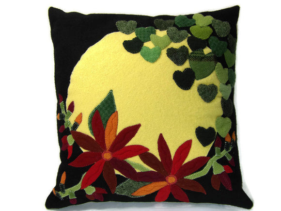 Sunny Hearts and Hot Flowers Felted Wool Throw Pillow Size 14 x 14