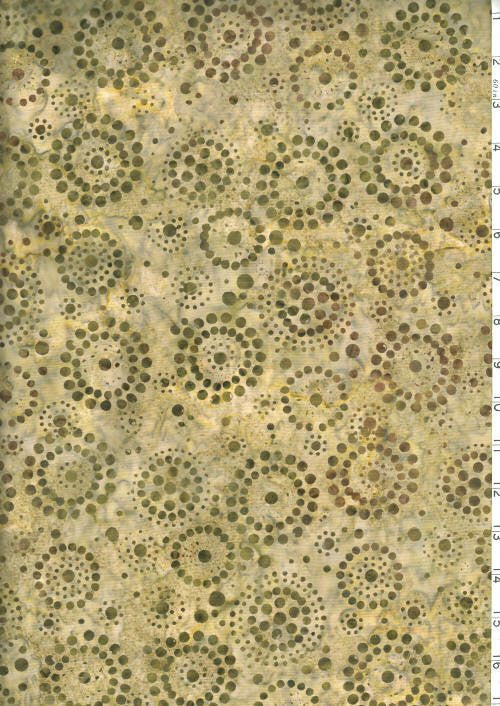 Fresh Water Java Batiks Olive Tan Circle Dots Batik - Beaverhead Treasures LLC