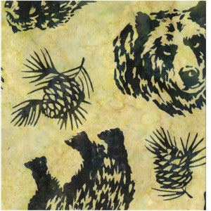 Hoffman Fabrics Fern Green Grizzly Bear Bali Batik Fabric N2908-220-Fern