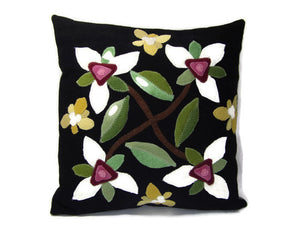 Montana White Trillium Flower Felted Wool Throw Pillow Size 14 x 14