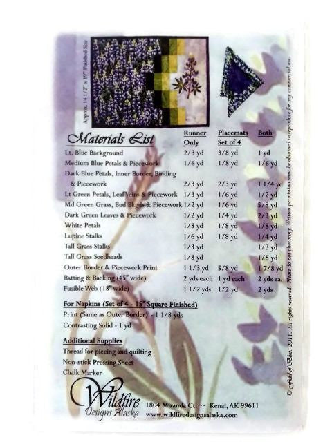 Wildfire Designs Alaska Field of Blue Table Runner Applique Quilt Pattern - Beaverhead Treasures LLC