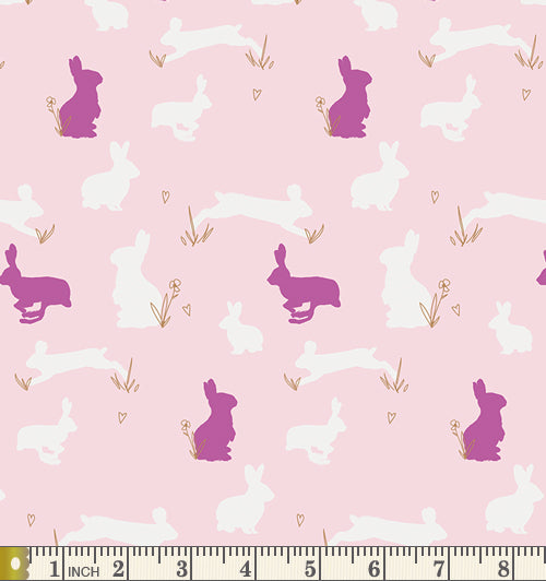 Art Gallery Fabrics Anna Elise Bunny Binkies Fluff Metallic Cotton Fabric ANE-77505