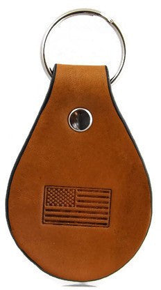 American Flag Leather Keychain