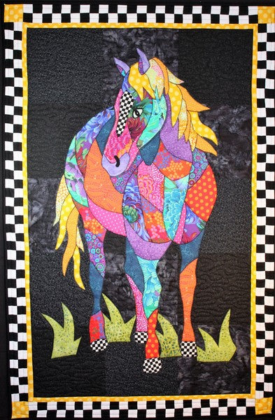 BJ Designs and Patterns Cheyenne Horse Applique Quilt Pattern Wall Hanging 29 x 45