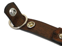 Modern Wood Grain Briar Brown Valet Double Ring Leather Key Chain