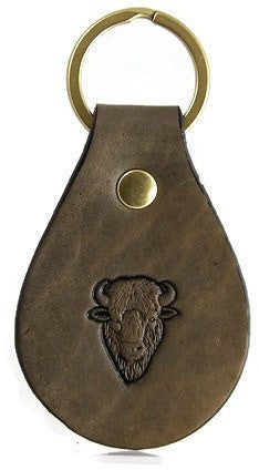 Buffalo Head Leather Keychain