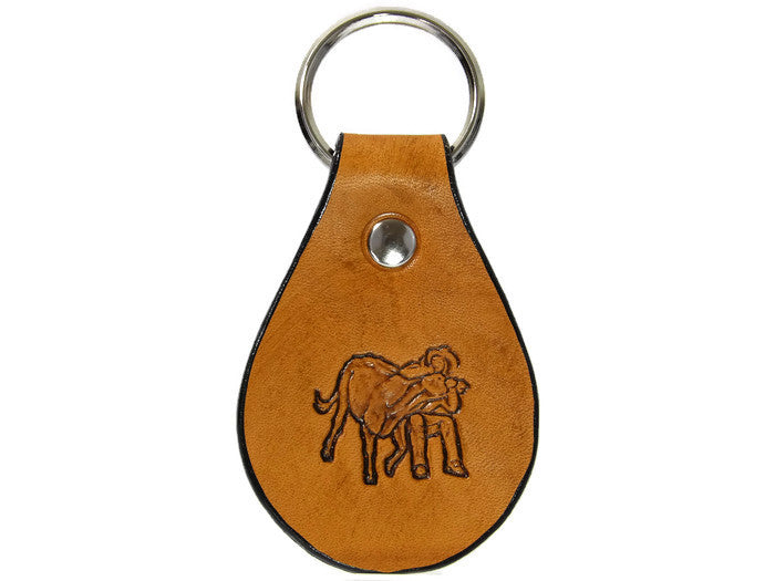 Bulldogger Steer Wrestling Rodeo Leather Keychain Made in Montana Free Gift Wrap
