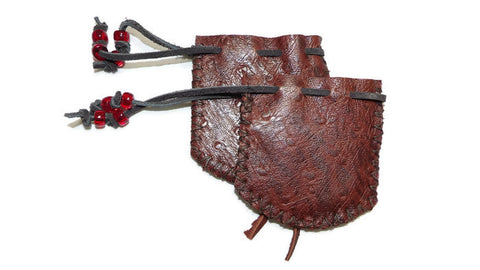 Burnt Cherry Sheepskin Leather Medicine Bag Pouch Back View